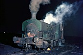 Before dawn at Shotton Colliery, County Durham with the systems Andrew Barclay 0-6-0ST of 1904 driven by W. H. Delicate. 06.30 on Thursday 16th December 1971