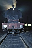 A Hunslet Austerity basks in the moonlight on the Cumbrian coalfield. June 1971.