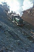 Andrew Barclay 0-4-0ST No.19 draws a loaded train from the mine at Storefield.