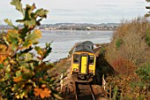 A Wessex Trains Class 150 with a train from Exmouth to Exeter St Davids skirts the Devon coast. November 2004.