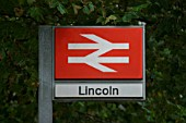 Standard British Rail station sign at Lincoln station. November 2004.