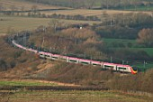 A double Virgin Trains Pendolino set on test on Alstoms Midlands Test Track near Asfordby, Leicestershire. December 2004