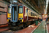 A Class 156 DMU at Alstom Traincares Springburn depot for refurbishment. June 2005