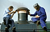Spit and polish being applied to the chimney of  GWR Prarie Tank at Crewe open day. May 2003