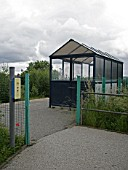 Traveller waiting shelter and help point at Langley Mill station, Nottinghamshire. 2007