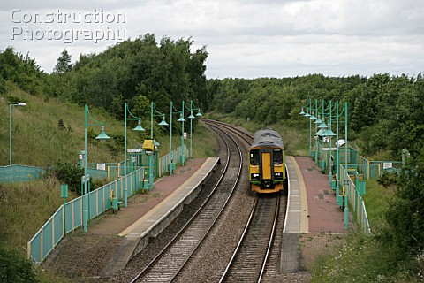 A Nottingham bound DMU arrives at LangwithWhaley thorns station on the Robin Hood line Nottinghamshi