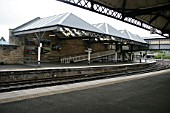 View of the platforms, platform canopies and access ramp at Perth station, Perthshire. 2007