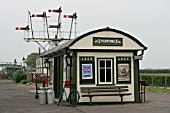 Platform building and semaphore signals at the preserved Metropolitan Railway station at Quainton Road, Buckinghamshire. 2007