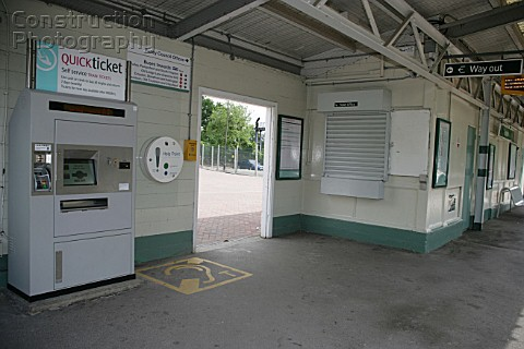 Interior of the platform at Reedham station Grear London showing the help point and Quickticket auto