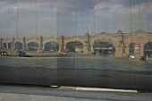 Reflection of the station frontage in steel wall at the recently refurbished Sheffield station. 2007