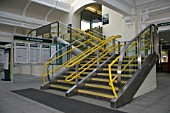 Staircase to the station footbridge at Sheffield station. 2007