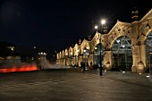 The frontage of Sheffield station at night with decorative architectural lighting. 2007