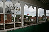 View from the inside of station building at Aslockton, Nottinghamshire showing the effects of vandalism. 2007