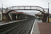 General view of platforms, platform buildings and footbridge at Aviemore station, Scotland. 2007