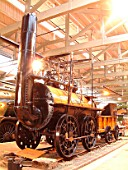 The first train on the Stockton & Darlington Railway was hauled by Locomotion No 1 which was subsequently retained for preservation when withdrawn from service. The locomotive is now resident in the Darlington Museum where it is kept in excellent condition. November 2003.