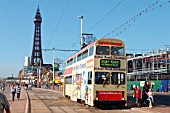 A busy scene on the promenade at Blackpool as one of the resorts famous heritage trams, adorned with typical advertising, traverses the seafront with holidaymakers and the landmark tower in the background. July 2004.