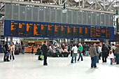 Glasgow Central Station. Concourse area showing Train Information Display. April 2005.