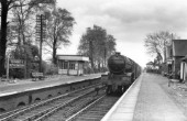 Blankney and Metheringham station on the GN&GE Joint Railway line between Spalding and Lincoln with an approaching Gresley V2 No.60858 with a two coach train. C1960