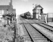 Thompson Class B1 at the head of a passenger train passes a signal box and level crossing at an unknown location in the east of England. C 1960