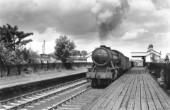 War Department Austerity 2-8-0, No.90000 at Skegby with a freight from Langwith Junction. 2nd July 1955
