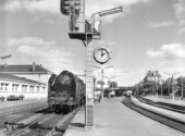 Angers station west of Paris and the capital of Anjou province with a 141P on the left and an Autorail diesel unit on the right. c1960