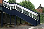 Staircase on pedestrian footbridge at Acocks Green station, Birmingham. 2007
