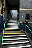 Pedestrian access staircase at Aston station, Birmingham. 2007