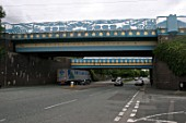Road overbridges on the approach to Dudley Port station, West Midlands. 2007