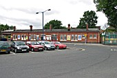 Car park and station frontage at Shirley station, West Midlands. 2007