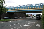 Road overbridges carrying the railway and the canal on the approach to Dudley Port station, West Midlands. 2007