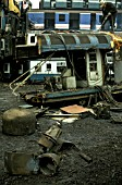 Cutting up condemed rolling stock at Berrys scrapyard in Leicester. C1993.