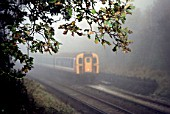 Autumn mist shrouds this commuter train on the Network South East sector of British Rail. c1993