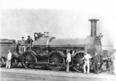 Gooch 0-6-0 Broad Gauge standard goods locomotive Flirt. Built May 1852, withdrawn March 1874. Photo c1870