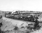 Union Pacific Railroad Companys 4-6-6-4 Challenger steam locomotive No.3999 ans 4-8-8-4 Big Boy Class steam locomotive No.4011 double heading on Sherman Hill, Wyoming. C1946