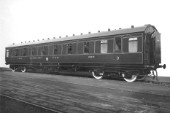 LMS third class sleeping car exterior. C1938