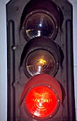 Three aspect coloured light signals showing red for danger. C 1994