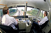 Drivers eye view  from the cab of a Class 47 diesel electric with an CrossCountry service. C 1995