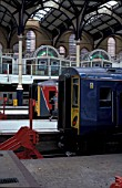 Suburban trains at the buffer stops at Liverpool Street Station in London. June 2001