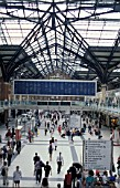 General view of the concourse and annunciator board at Liverpool Street station, London. C 1996