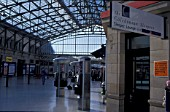 Concourse of Aberdeen station with telephone kiosks. C 2002