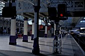 Platform view of Aberdeen station with three aspect signal. C 2002
