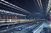General platform view of St Pancras station, London showing W. H. Barlows magnificent train shed and roof. C 1992