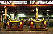 Two nose pieces for Virgin Trains Pendolino are seen here inside Alstoms Train Assembley depot at Washwood Heath, Birmingham, UK. 2002.