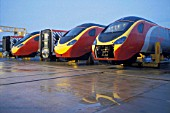 Three leading vehicles of Virgin Trains Pendolino are seen here at Alstoms Train Assembley depot at Washwood Heath, Birmingham, UK. 2002.
