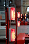 The buffer stop lights at Manchester Piccadilly station. 2003.