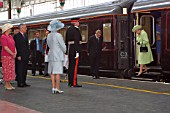 The Queen allights from the Royal Train at Preston station. 2003.