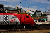 A Virgin Voyager stands at Sheffield station. 2004.