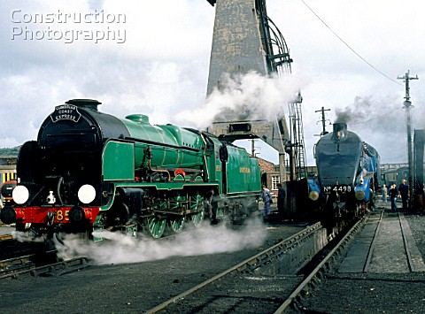 Carnforth Nos850 Lord Nelson and 4498 Sir Nigel Gresley being prepared for the Cumbrian Coast Expres