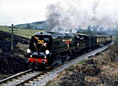K.&.W.V.R. The Golden Arrow. No.34092 City Of Wells leaves Damems Loop for Oakworth. 1.4.80.