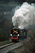 K. & W.V.R. Golden Arrow. No.34092 City Of Wells approaches Oakworth. 01.04.1980.
